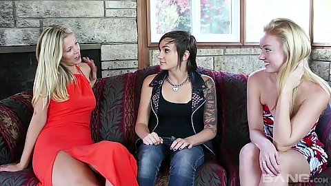 Nikki Adam and Dynamite with Scarlet Red in kissing dynamite cousins