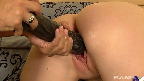 Large dildo stretching Melody Jordan pussy hole and then she suck balls