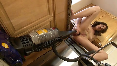 Vacuum fucking milf Sarah Shevon tries various household objects for insertion