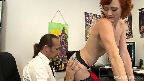 Redhead office milf Audrey Hollander sucks off cock and then giant dildo up the ass