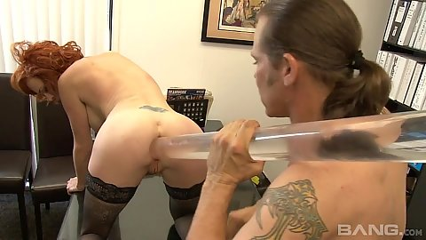Ass hole stretching with fetish redhead milf Audrey Hollander at the office