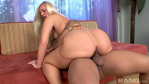 Justina and her nice round white ass ride black penis