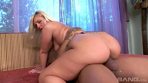 Thick as white girl Alex Love in interracial cowgirl fuck
