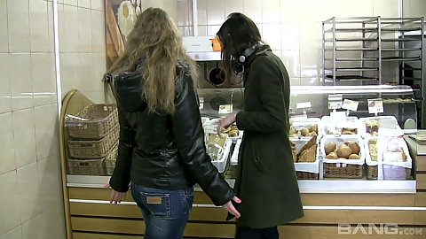 Two skinny lesbians Marlene and Patricia doing some shopping