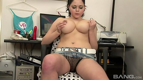 Large boobs Rranetta touching self and getting naked near computer table