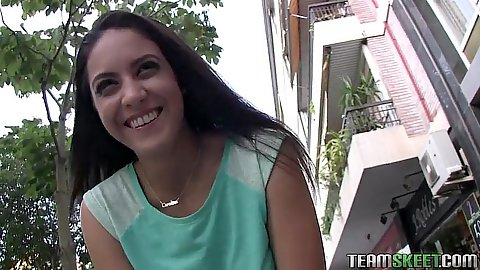 Brunette teen fully clothed in public spanish waitress Carolina Abril