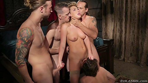 Dick jerking and sucking with hairy Carter Cruise in naughty gang bang