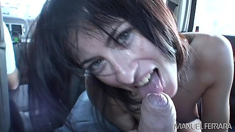Cock sucking from snappy little whore Cecilia Vega while driving around then anal dildo
