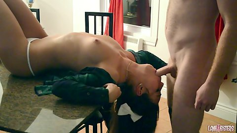 Zealous Shana Lane in quickie kitchen reverse blowjob on table