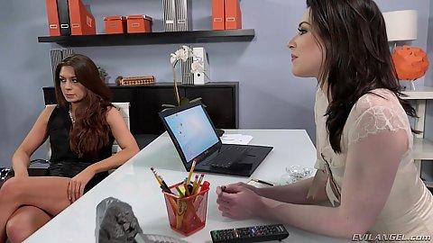 Office arrangement with Kayden Kross and Veronica Vain and Stoya
