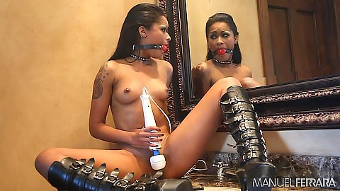 Black babe loves to mouth gag her mouth during masturbation solo Skin Diamond