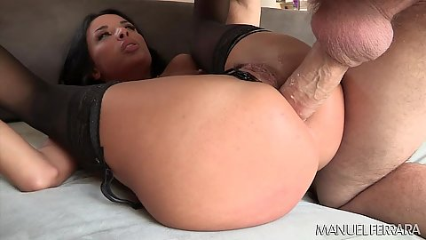Anal fuck with large cock causing a gape in sexy Anissa Kate ass