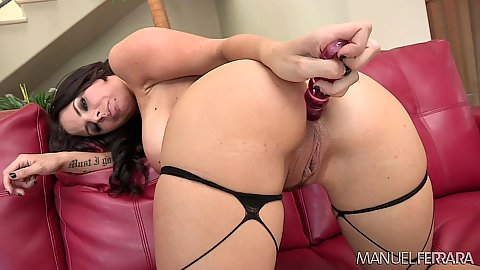 Self anal dildo insertion with high heels brunette Brandy Aniston