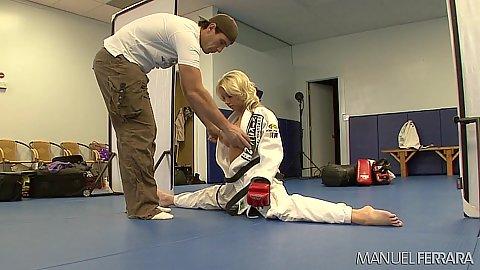 Karate girl Shawna Lenee in behind the scenes shooting