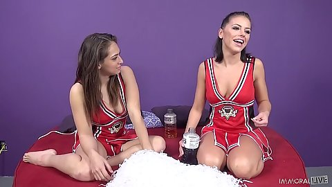 Dreamy sluts in cheerleader uniforms Sara Luvv and Adriana Chechik