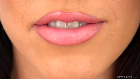 Close up Megan Rain with sexy lips