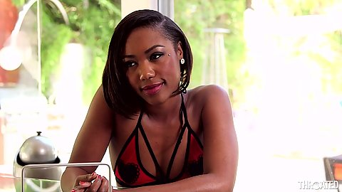 Ebony babe Chanell Heart looking sexy and gets naked
