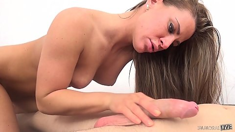 Natural Athena leans over to give head