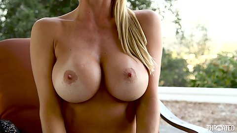 Astonishing big melons blonde milf Alexis Fawx sucking dick