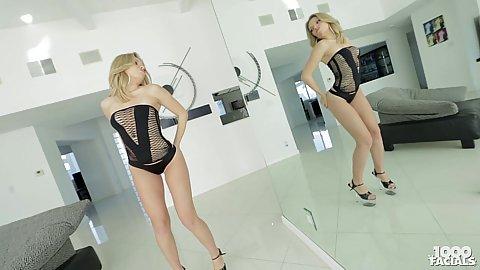 Lingerie blonde Trisha Parks posing her body and crack fuck for tease