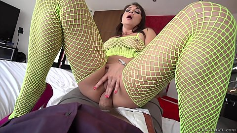 Fishnet cowgirl anal fuck from Bailey Blue