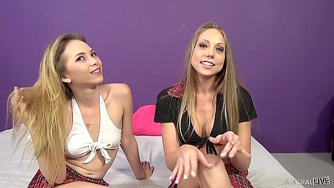 Petite fully clothed ready to get laid Angel Smalls and Shawna Lenee`