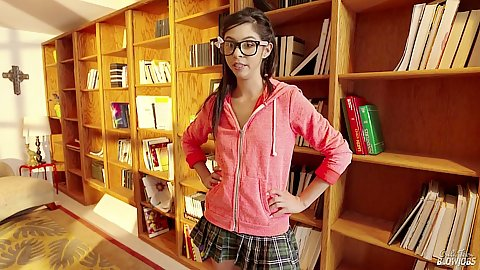 Horny teen school girl Taylor Reed caught in library