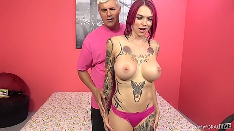 Big tits dyed hair whore Anna Bell Peaks comes to our show