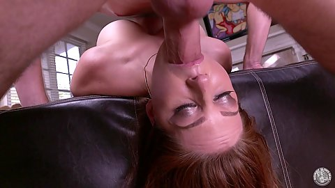 Big juggs redhead milf Allison Moore reverse deep throat face fucked by huge cock stepson