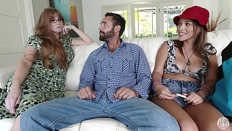 Darla Crane and Karter Foxxx group milf fully clothed cock sucking