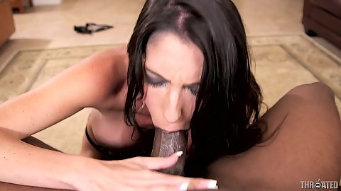 Super monster cock deep throat and some gagging with Dava Foxx