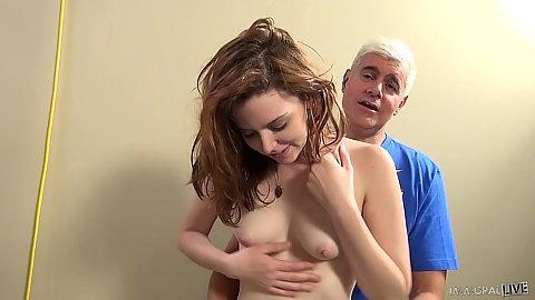 Touching lovely white skin redhead breasts with Emma Evins