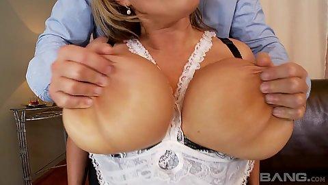 Big juggs Laura Orsoia having her knockers exposed