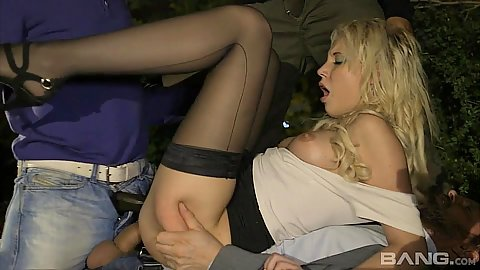 Anal gang bang with half dressed milf leanne