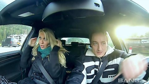 Driving around with sexy euro milf Julia Pink