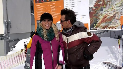 Julia Pink goes skiing outdoors