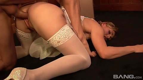 Hardcore milf in stockings Cassandra bent over for receiving dick and facial
