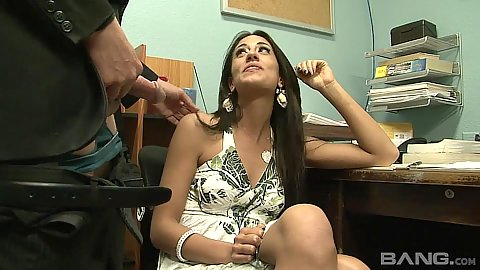 Intense office blowjob with older man shoving dick in Lyla Storm mouth