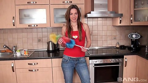 Home alone teen Rita stripping solo in kitchen