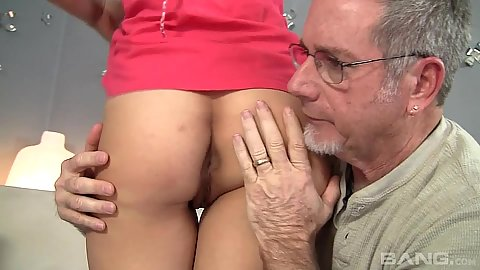 Nice ass touching with old man and 18 year old stepdaughter Simone Lopez doing salad tossing