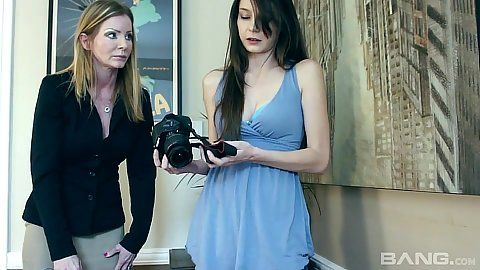 Experienced milf and young teen Amber Michaels and Rilee Marks get naked