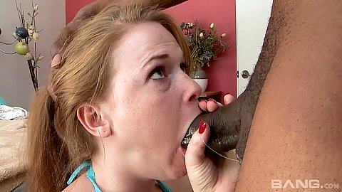 Deep throat and sloppy gagging with pale skinned redhead 18 yo Ariel Stoman