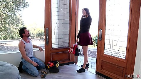 Fully clothed Adria Rae comes in and finds best step daddy