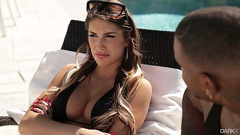 Brunette busty babe August Ames in sensual boss wife bbc