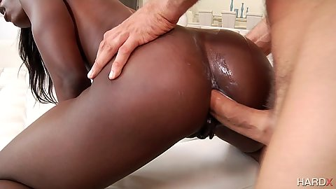 Anal sex with tight little black cutie Ana Foxxx with ass to mouth deep throat