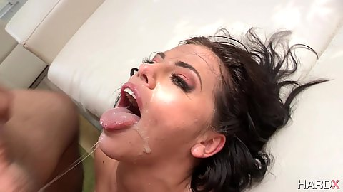 Group facial cum slut Adriana Chechik gets bukkake from all over