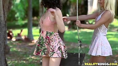 Glamcore babes dressed to impress Raylin Ann and Uma Jolie kiss and play with each other