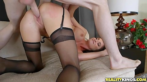 Sweet and very moist milf in nylon stockings Silvia Saige rear plowed