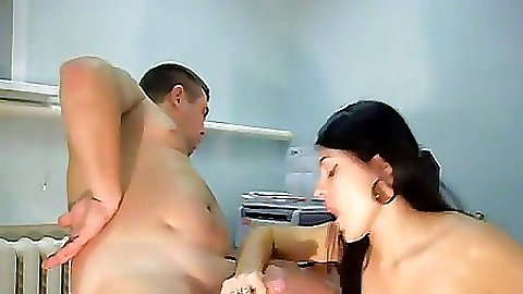 Brunette Gf in her panties sucking off a guy