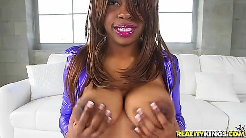 Solid black babe Solah Laflare baring her tits and ass